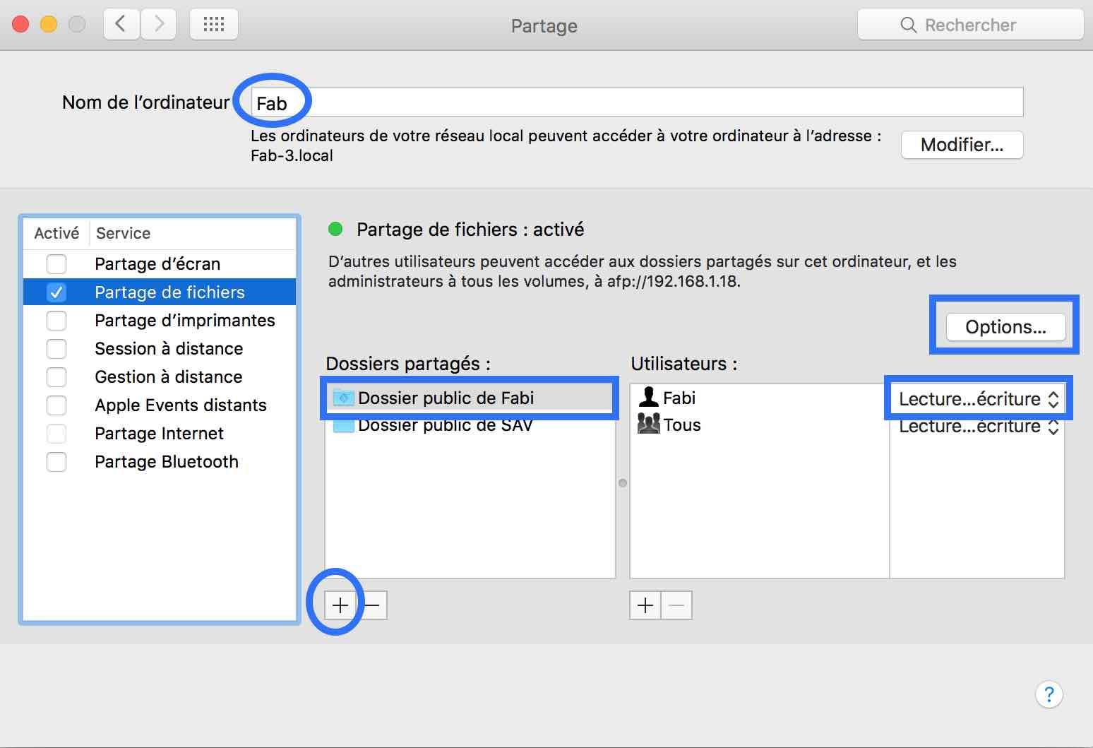 Partager des fichiers de votre Mac sur votre réseau1