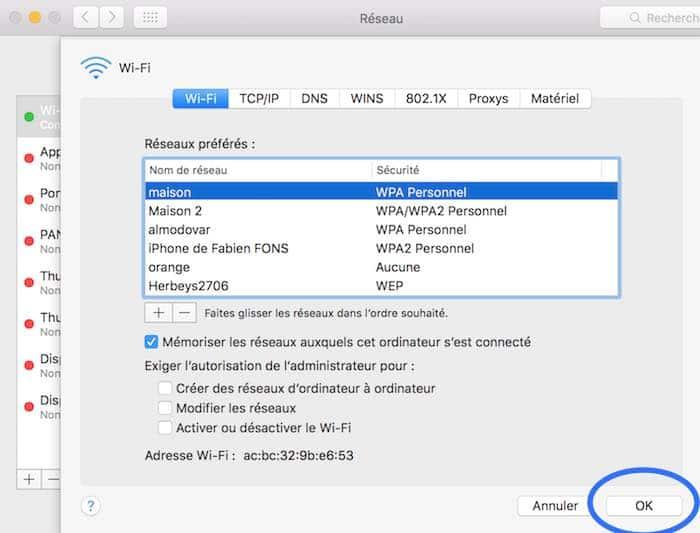6Définissez les réseaux Wifi prioritaires sur votre Mac