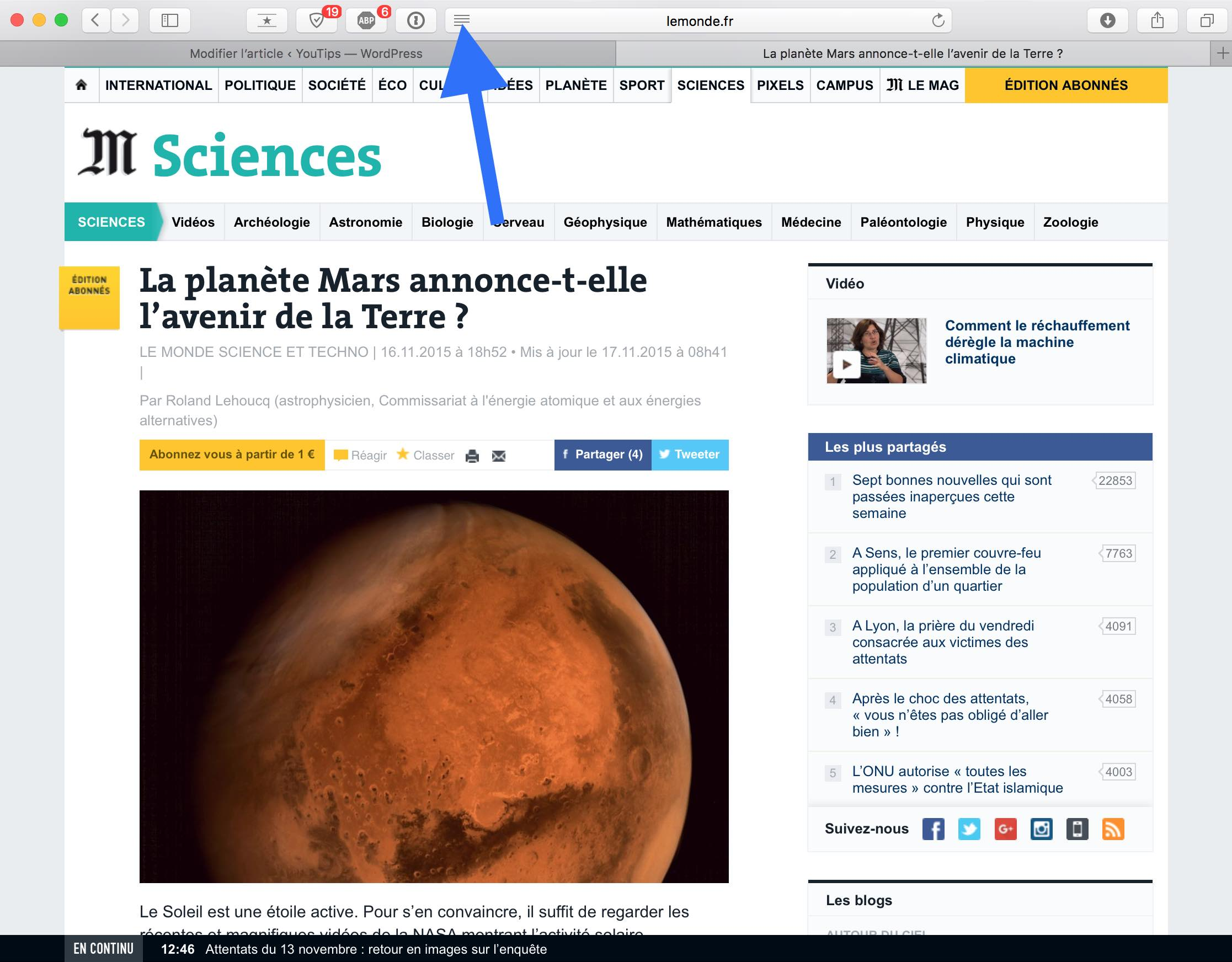 Isoler un article d'une page Internet sur Mac1