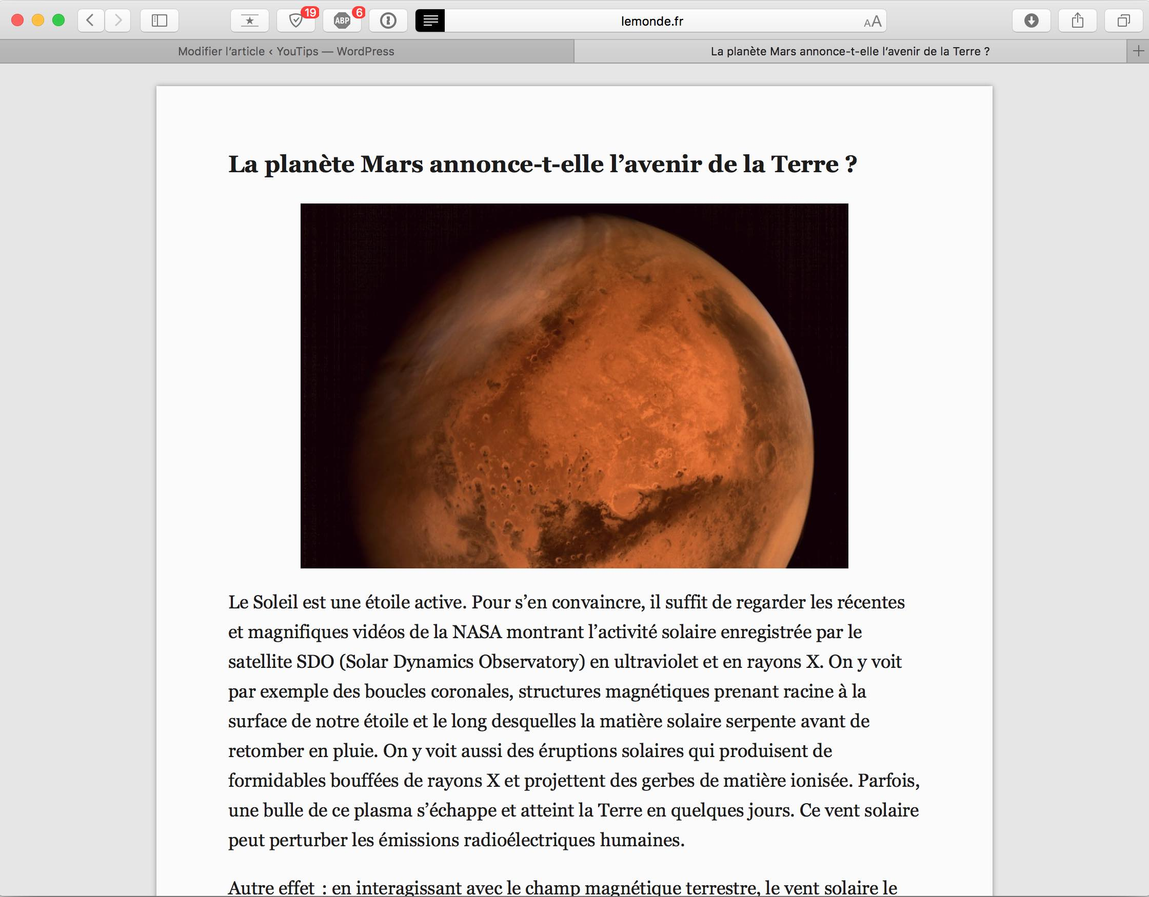 Isoler un article d'une page Internet sur Mac2