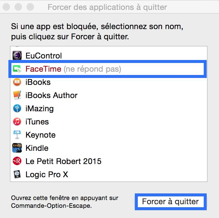 comment forcer a quitter sous mac