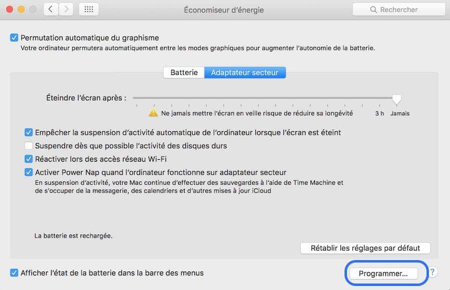 Programmez votre Mac pour qu'il s'allume et qu'il s'éteigne automatiquement2