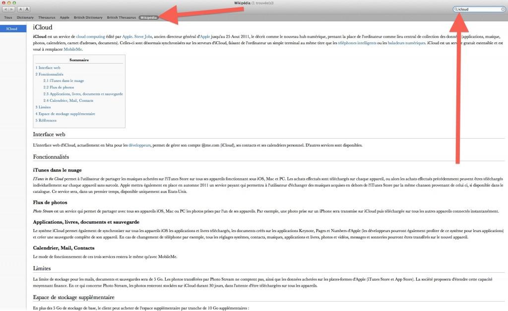 La Recherche Wikipedia Facile Dans Mac Os X Lion Youtips