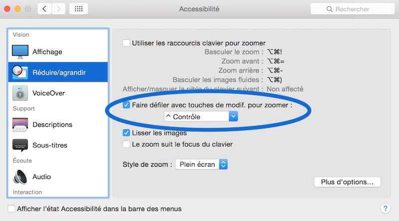 Activer le Zoom sur Mac