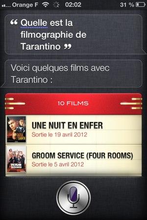 Demande d'une filmographie à Siri