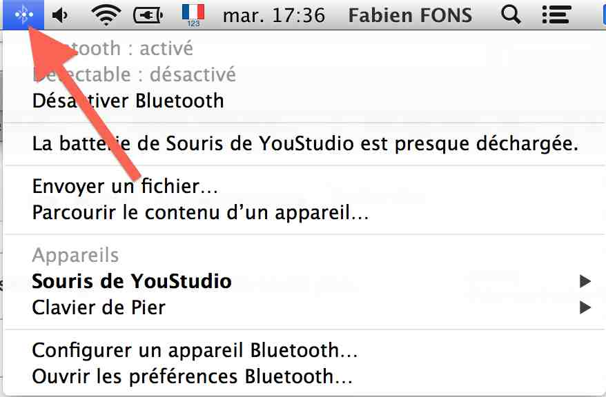 menu bluetooth dans OS X