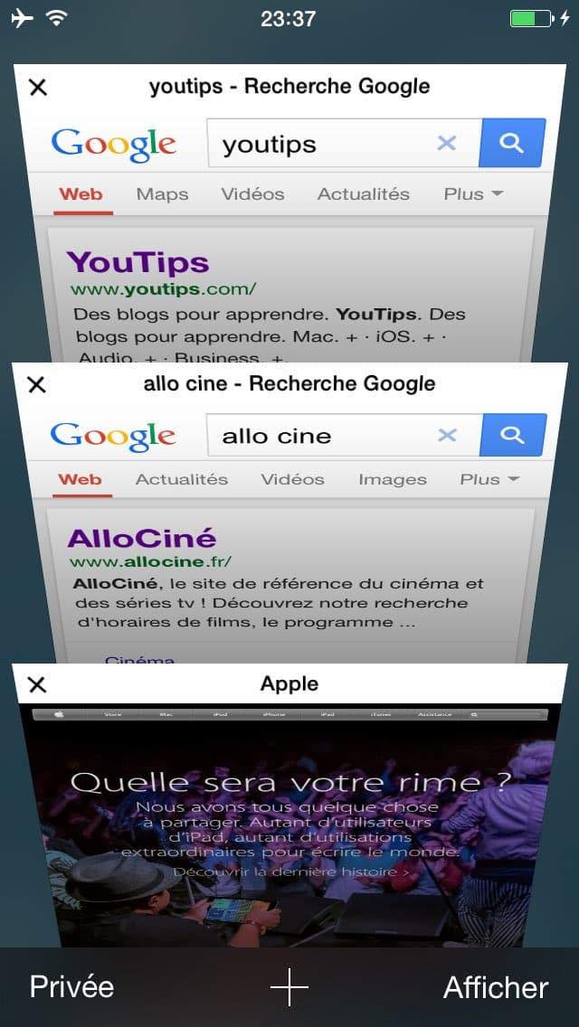 comment faire une recherche internet sur plusieurs pages sur l u2019iphone16
