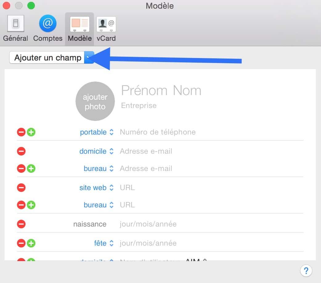 Personnaliser le carnet d'adresse de votre Mac 2