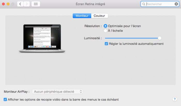 Préférence moniteur OS X Macbook pro rétina