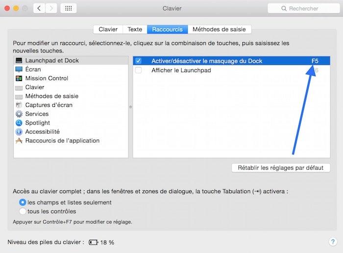 Raccourci clavier F5 et F6 sur Mac 3ok