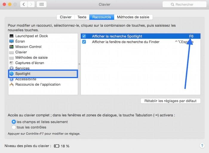 Raccourci clavier F5 et F6 sur Mac 4