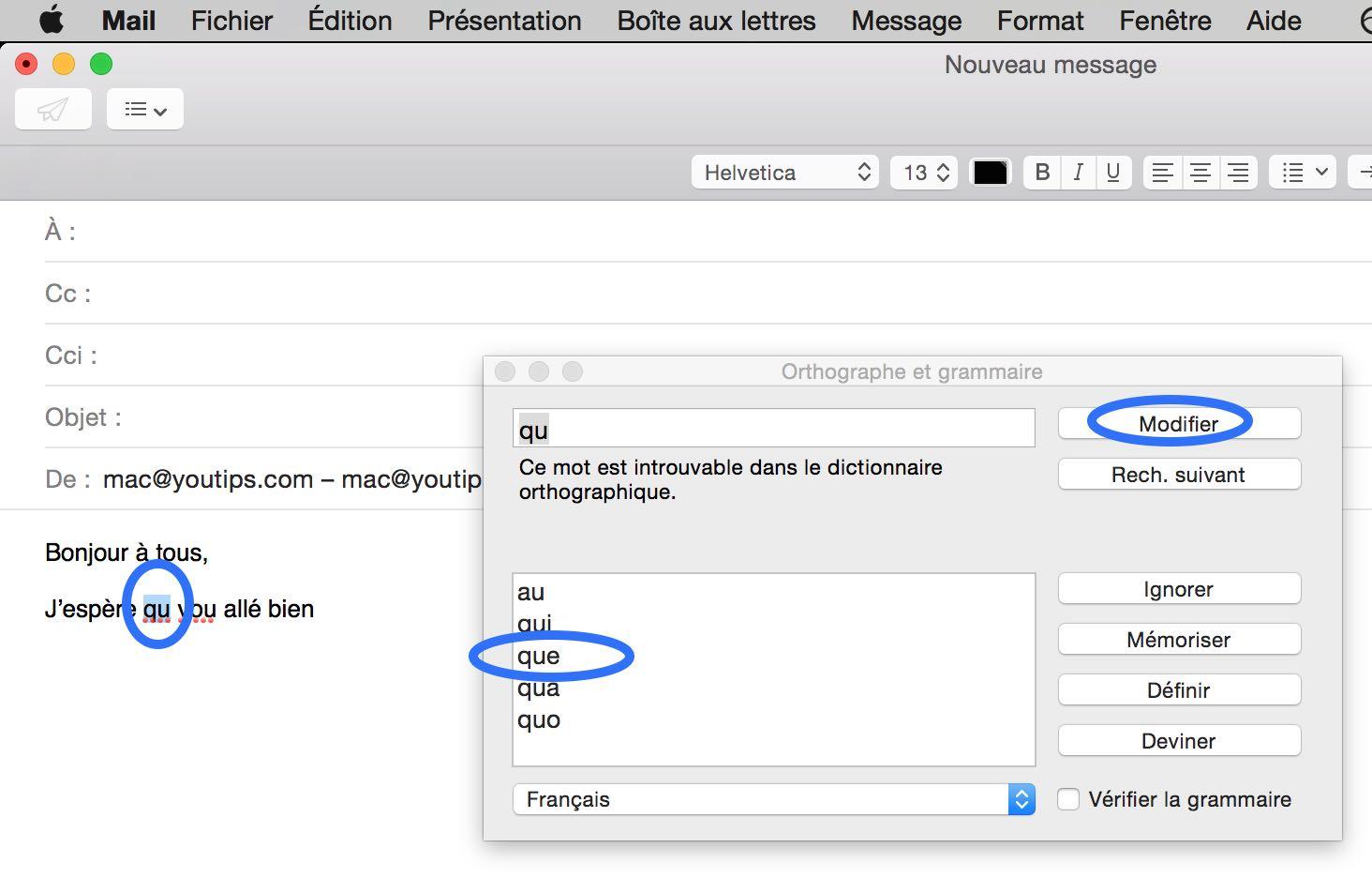 Raccourci clavier Mac pour corriger l'orthographe de vos mails4