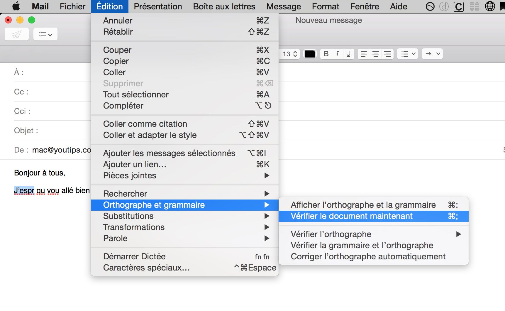 Raccourci clavier Mac pour corriger l'orthographe de vos mails5