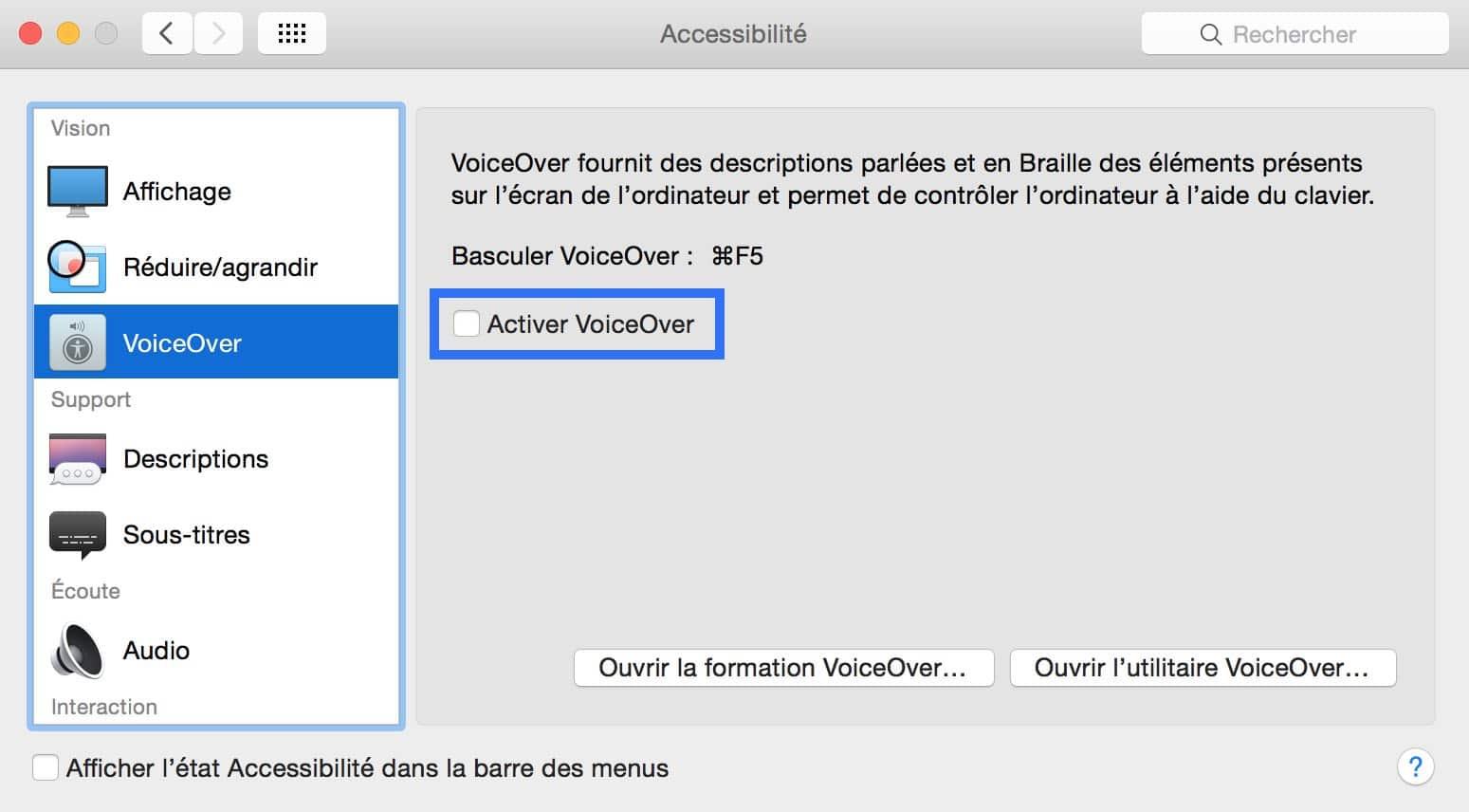 Désactiver Voice Over3