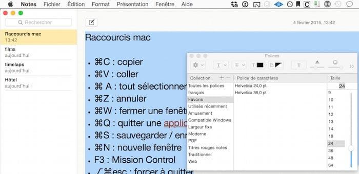 Raccourci clavier pour ouvrir la fenêtre de polices sur Mac4